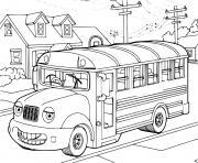 Coloriage bus qui recupere les enfants de la maison dessin
