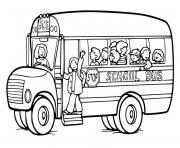 autobus scolaire avec chauffeur dessin à colorier