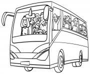 bus rempli de passager pour les vacances dessin à colorier