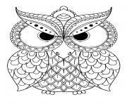 hibou chouette mandala adulte dessin à colorier