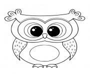 hibou mignon kawaii oiseau nocturne dessin à colorier