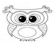 chouette mignon kawaii oiseau nocturne dessin à colorier