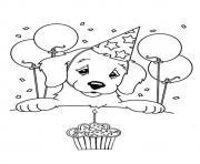 Coloriage joyeux anniversaire maman chien dessin