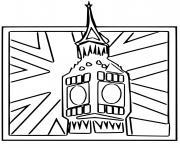 Coloriage big ben horloge au sommet de la tour elisabeth dessin