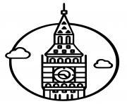 Coloriage big ben elizabeth tower dessin
