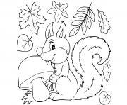 feuilles automne ecureuil dessin à colorier