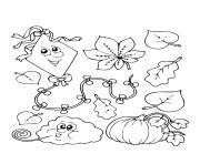 le debut de lautomne vent citrouille et feuilles dessin à colorier