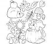 automne pommes ecureuil herisson dessin à colorier