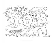 ramasser les feuilles automne avec un rateau dessin à colorier