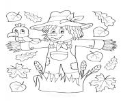 epouvantail dans un champ pour effrayer les oiseaux dessin à colorier