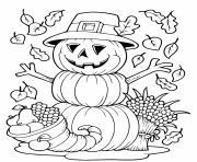 bonhomme de neige en citrouilles automne dessin à colorier