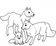 famille de loups dessin à colorier
