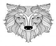 loup mandala zentangle dessin à colorier