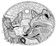 loup mandala difficile dessin à colorier