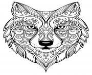 loup mandala adulte dessin à colorier