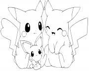 adorable famille de pikachu dessin à colorier