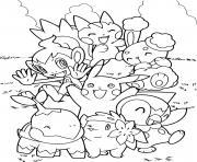 pikachu a du plaisir avec ses nouveaux amis dessin à colorier
