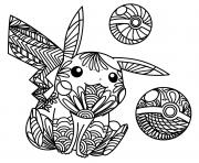 Zen Pikachu mandala dessin à colorier