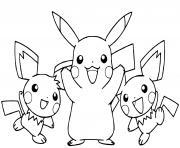 la famille de pikachu est heureuse dessin à colorier