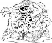 squelette pirate sur une ile avec un tresor dessin à colorier