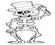 squelette rigolo avec un chapeau dessin à colorier