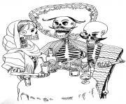 halloween adulte tatouage squelettes dessin à colorier