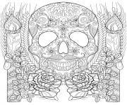 squelette et chandelles halloween adulte dessin à colorier