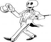 squelette halloween drole dessin à colorier