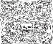 halloween adult squelette complexe dessin à colorier