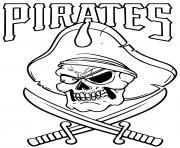 squelette pirate avec chapeau epees dessin à colorier