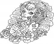 adulte femme squelette enterre gothique dessin à colorier