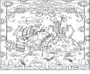 halloween adulte squelettes dessin à colorier