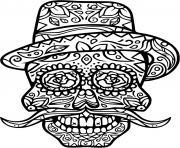 squelette halloween moustache rigolo dessin à colorier