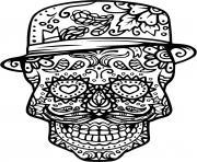 squelette halloween chapeau dessin à colorier