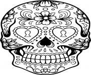 squelette halloween coeurs dessin à colorier