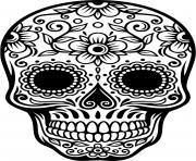 squelette halloween fleur harmonie dessin à colorier