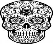 squelette halloween tete de mort dessin à colorier