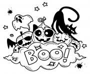 boo fantomes et citrouilles dessin à colorier