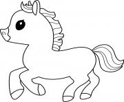 cheval poney mignon dessin à colorier