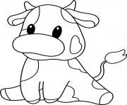 petite vache animaux de la ferme dessin à colorier