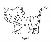 tigre mignon dessin à colorier