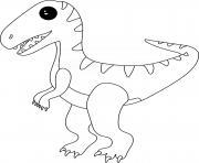 petit dinosaure velociraptor dessin à colorier