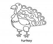 dinde oiseau dindon dessin à colorier