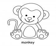 singe adorable bebe dessin à colorier