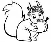 ecureuil avec une noisette dessin à colorier