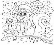 ecureuil de noel sur un arbre en hiver dessin à colorier