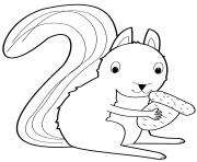 ecureuil mange une noisette dessin à colorier