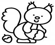 ecreuil noix maternelle dessin à colorier