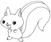 bebe ecureuil dessin à colorier