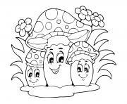 champignons automne dessin à colorier